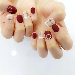 红色圆形方圆形格纹韩式可爱几何简约手绘磨砂磨砂格纹,简约美甲图片