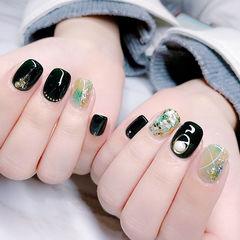 方圆形黑色绿色晕染贝壳片金箔美甲图片