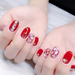圆形红色贝壳片金箔钻新娘日式美甲图片