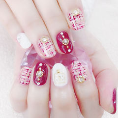 圆形红色粉色白色手绘毛呢珍珠金属饰品美甲图片