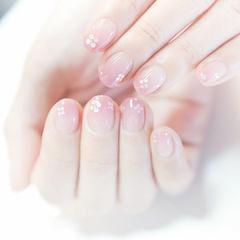 方圆形粉色渐变亮片新娘简约上班族优雅渐变美甲款美甲图片