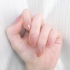 粉色圆形渐变日式简约上班族新娘甜蜜新娘甲透明感美甲渐变美甲款美甲图片