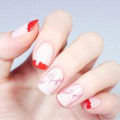 方圆形红色白色手绘法式心形新娘美甲图片