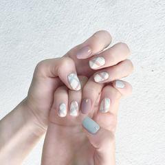 白色粉色蓝色方圆形格纹韩式简约磨砂#学生美甲图片