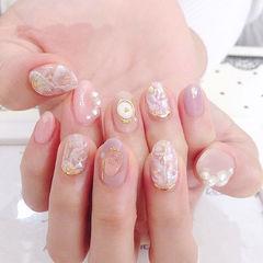 圆形粉色裸色香芋紫色贝壳片金箔珍珠日式美甲图片