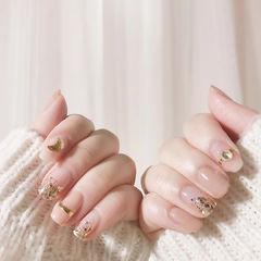方圆形裸色金色金银线钻闪粉平法式平法式美甲美甲图片