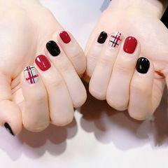 圆形红色黑色白色手绘线条短指甲美甲图片