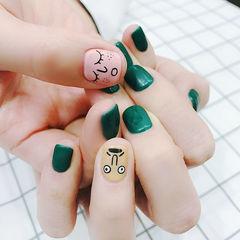 方圆形粉色绿色裸色手绘可爱表情磨砂跳色韩式美甲图片