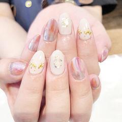 圆形裸色白色粉色晕染贝壳片日式美甲图片