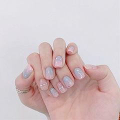 方圆形粉色灰色渐变金银线美甲图片