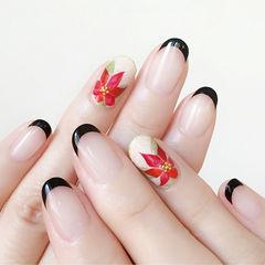 圆形红色金色黑色手绘花朵日式法式美甲图片