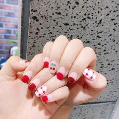 方圆形红色白色手绘格纹夏天水果樱桃圆法式美甲图片
