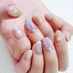 圆形紫色银色贝壳珍珠日式金属饰品美甲图片