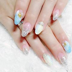 圆形银色蓝色渐变贝壳手绘夏天日式海洋美甲图片
