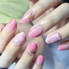 圆形粉色渐变贝壳夏天珍珠美甲图片