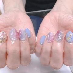 圆形粉色蓝色灰色贝壳日式美甲图片
