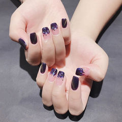 方圆形紫色贝壳片猫眼美甲图片