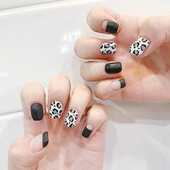 方圆形黑色白色手绘豹纹法式磨砂美甲图片
