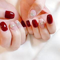 方圆形粉色红色钻新娘美甲图片