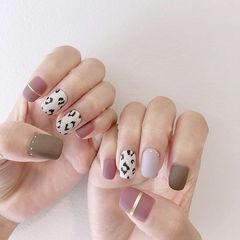 方圆形粉色裸色白色手绘豹纹金银线磨砂跳色美甲图片