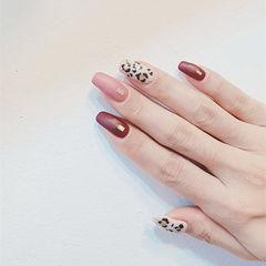 方圆形红色粉色白色手绘豹纹磨砂跳色美甲图片