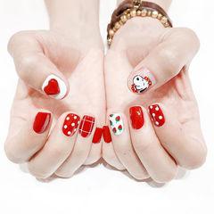 方圆形红色白色手绘心形可爱卡通史努比波点美甲图片