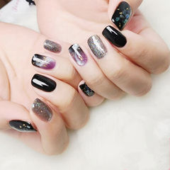 方圆形银色黑色紫色手绘晕染金箔美甲图片