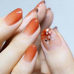 圆形橙色渐变贝壳片美甲图片