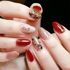圆形红色棕色手绘豹纹金箔日式美甲图片