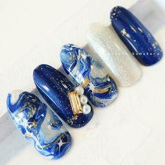 圆形蓝色白色手绘晕染金箔珍珠金属饰品日式美甲图片