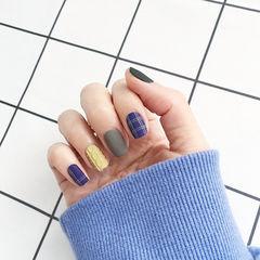 方圆形蓝色黄色灰色格纹毛衣纹磨砂跳色美甲图片