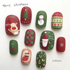 红色白色绿色方圆形磨砂手绘可爱圣诞美甲图片