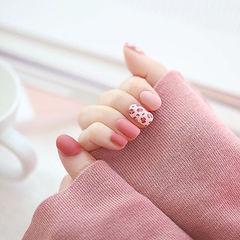 圆形红色粉色手绘豹纹磨砂美甲图片