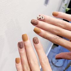 方圆形棕色黄色手绘豹纹毛衣纹格纹磨砂分享ins美图美甲图片