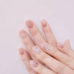 方圆形粉色裸色手绘雕花简约上班族美甲图片