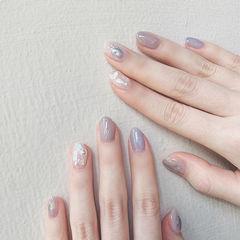 圆形香芋紫色裸色晕染贝壳片珍珠日式美甲图片