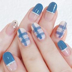 圆形白色线条平法式蓝色美甲图片