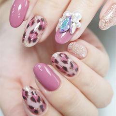 圆形粉色银色手绘豹纹钻珍珠美甲图片