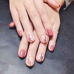 圆形粉色裸色手绘花朵美甲图片