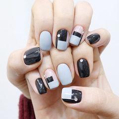 方圆形黑色灰色钻法式美甲图片