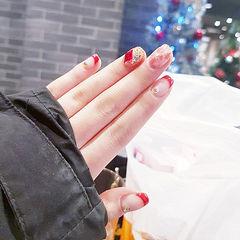方圆形红色法式贝壳片钻新年美甲图片