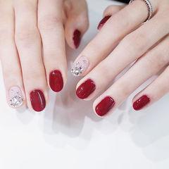 圆形红色裸色钻新年新娘美甲图片