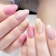 圆形粉色裸色金属饰品简约上班族美甲图片