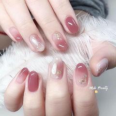 圆形粉色渐变贝壳片简约日式美甲图片