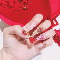 圆形红色粉色手绘花朵钻饰品日式新年美甲图片