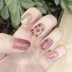 圆形豆沙色棕色手绘晕染豹纹金箔金属饰品美甲图片