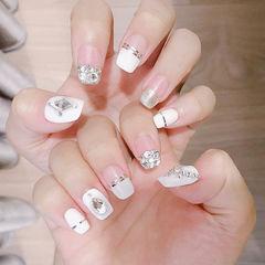 方圆形白色银色金银线钻平法式新娘美甲图片