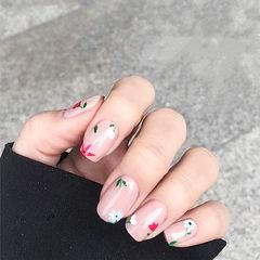方圆形粉色白色手绘花朵简约上班族美甲图片