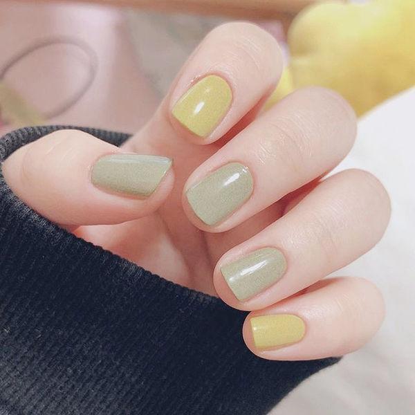 方圆形绿色黄色跳色简约美甲图片
