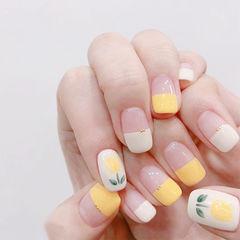 方圆形黄色白色手绘花朵平法式美甲图片